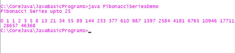 JavaFibonacciSeriesDemoProgramOutput